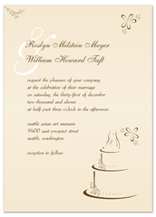 Cream Beige Cake Picture Blank Wedding Invitation