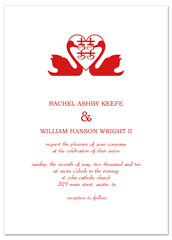 Swans Symbol Graphic Blank Wedding Invitation