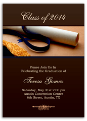 Brown Gold Highschool Graduation Announcement Sample