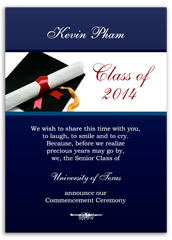 Cap Gown Background Graduation Invite