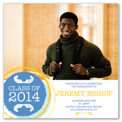 Yellow Blue Emblem Photo Graduation Invite