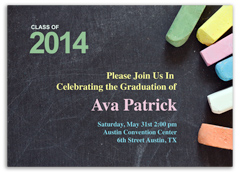 Colorful Chalkboard Personalized Graduation Invitation