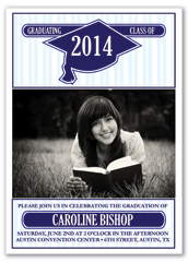 Royal Blue Stripes Personalized Graduation Invitation