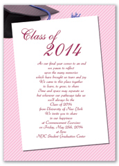 Simple Pink White Printable Graduation Announcement