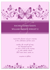 Purple White Butterfly Printable Wedding Invitation
