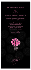 Hot Pink On Black Roses Wedding Invitation Design