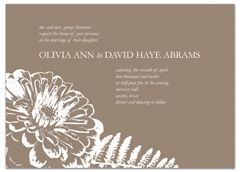 Brown White Botanical Wedding Invitation Example