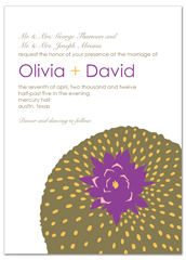 Purple White Floral Design Wedding Invitation Example